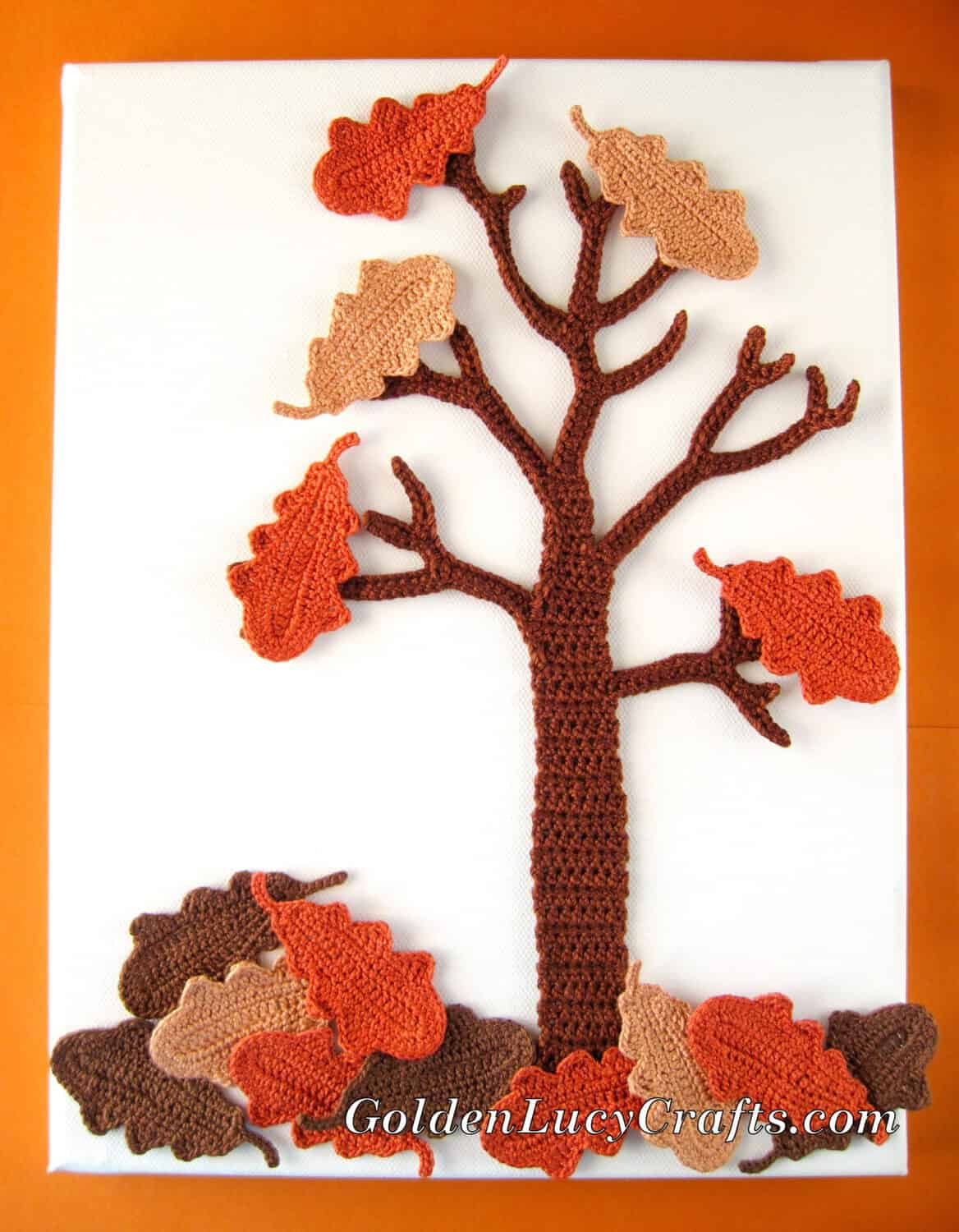 Crochet Fall Oak Tree wall art