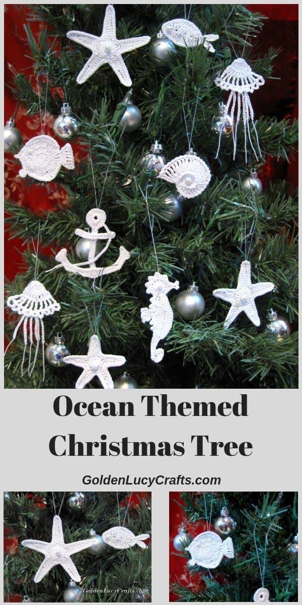 Ocean themed Christmas tree, sea motifs crochet ornaments
