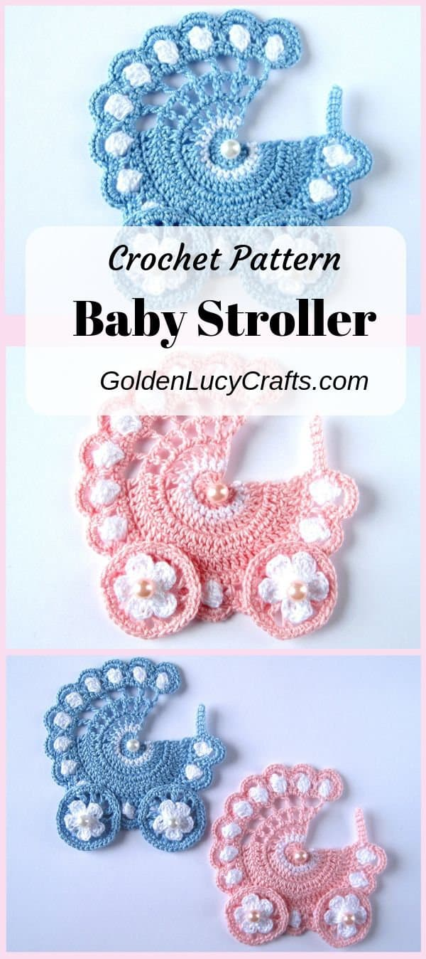 Crochet baby stroller applique