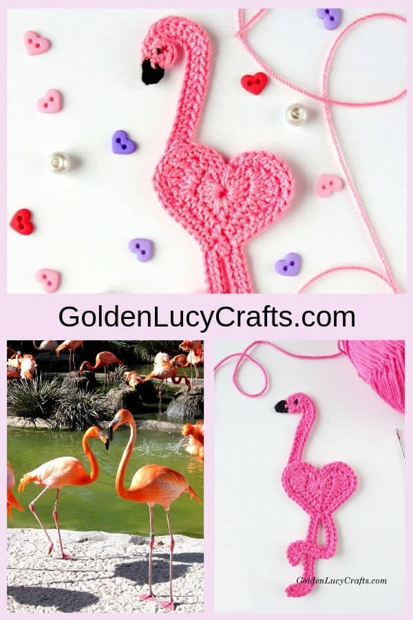 Crochet flamingo, flamingo free crochet pattern, crochet flamingo applique