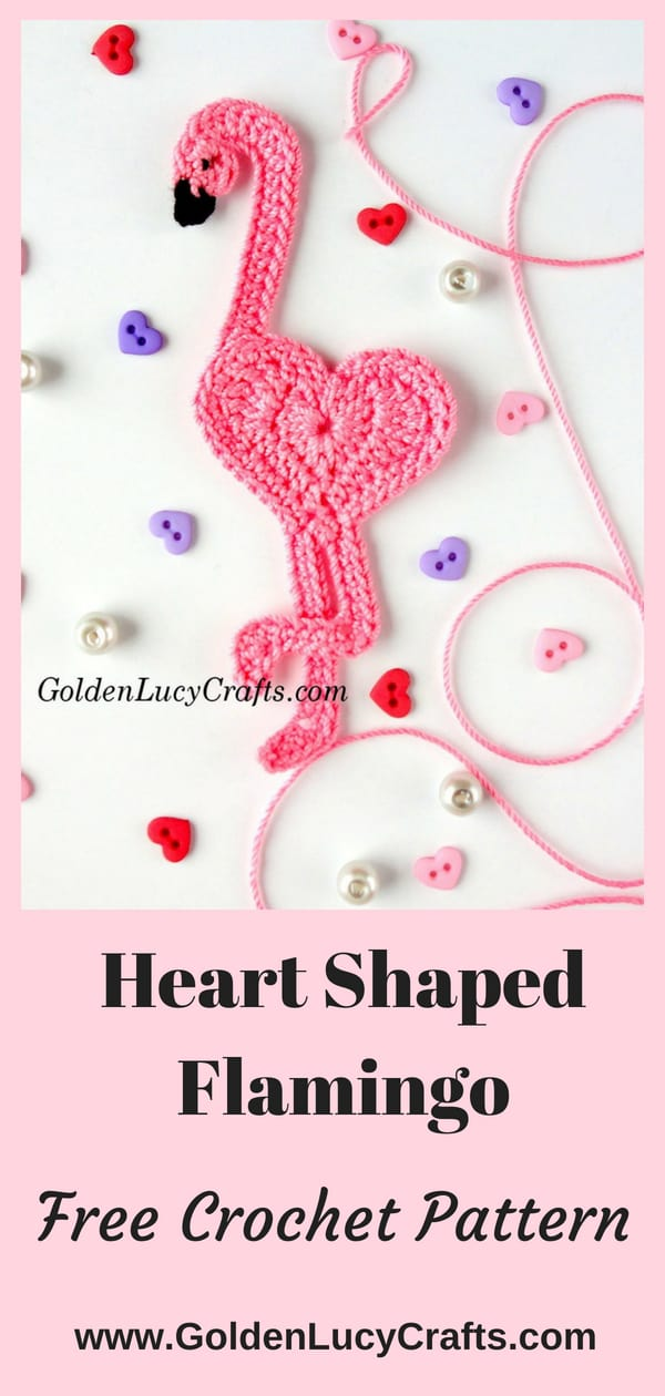 Crochet flamingo applique, heart-shaped flamingo, free crochet pattern