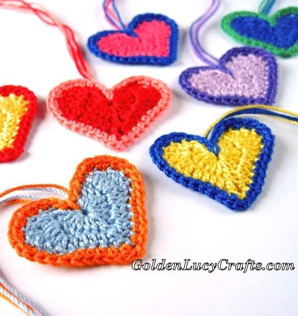 Crochet heart, Valentine's Day Hearts, free crochet pattern