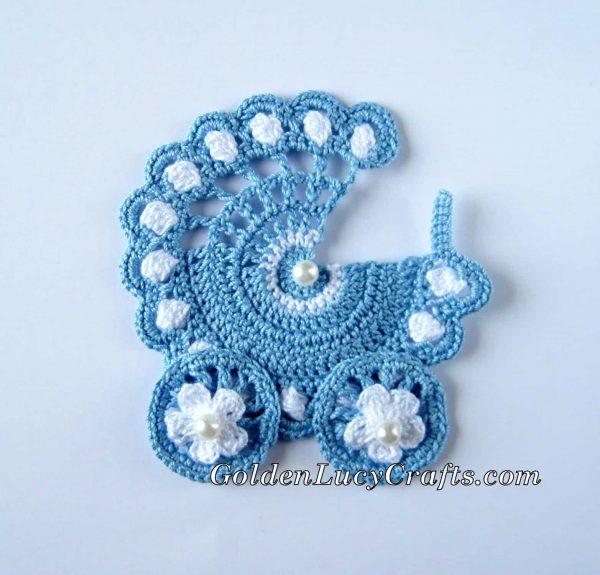 Baby Stroller Crochet Applique