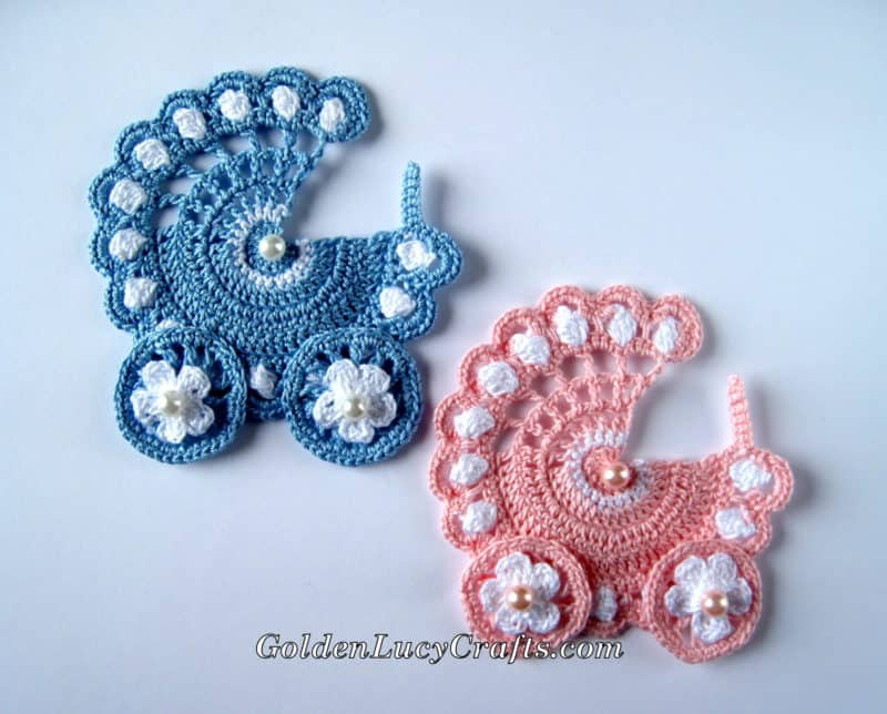 Baby Stroller Crochet Pattern Applique Goldenlucycrafts