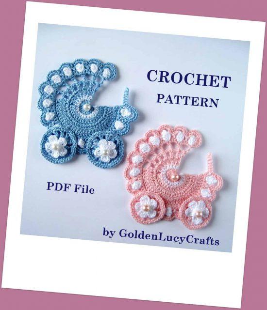 Baby Stroller crochet applique pattern