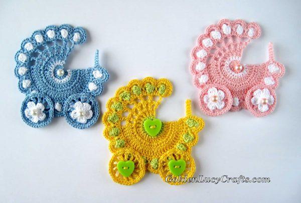 Baby Stroller crochet appliques