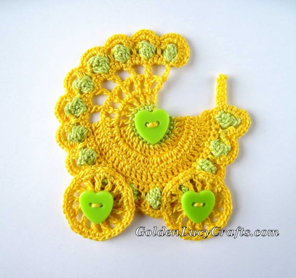 Baby Stroller crochet applique in yellow and light green