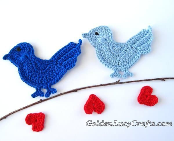 Crochet bird applique, Love bird, Valentine's Day, crochet pattern