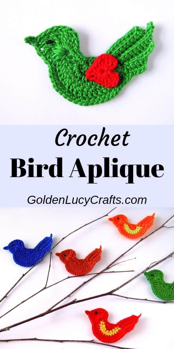 Crochet bird applique, Love bird, motif, pattern, Valentine's Day