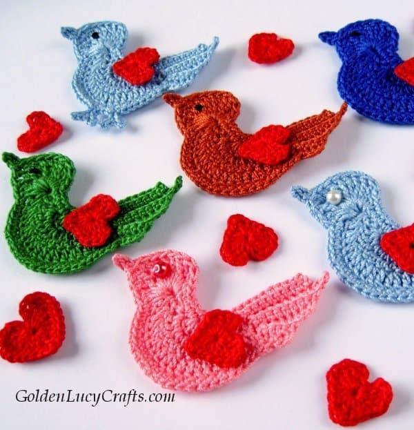 Crochet bird applique, Love bird, Valentine's Day, crochet pattern