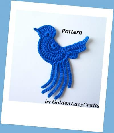 Crochet blue bird applique, pattern