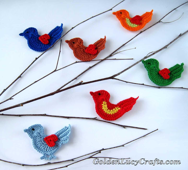 Crochet Love Bird Appliqué