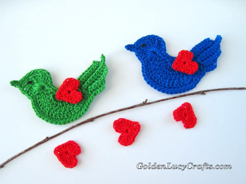 Crochet Love Bird Appliqué