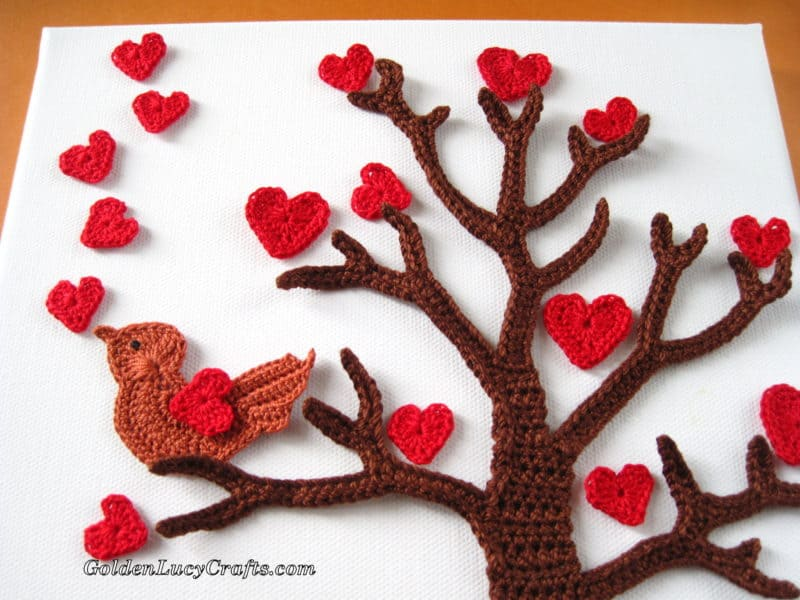 Crochet Wall Art - Valentine's Day Tree