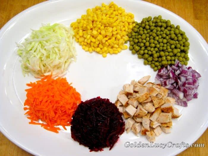 Salad Goat in the Garden, Ukrainian salad recipe, vegetables, chicken