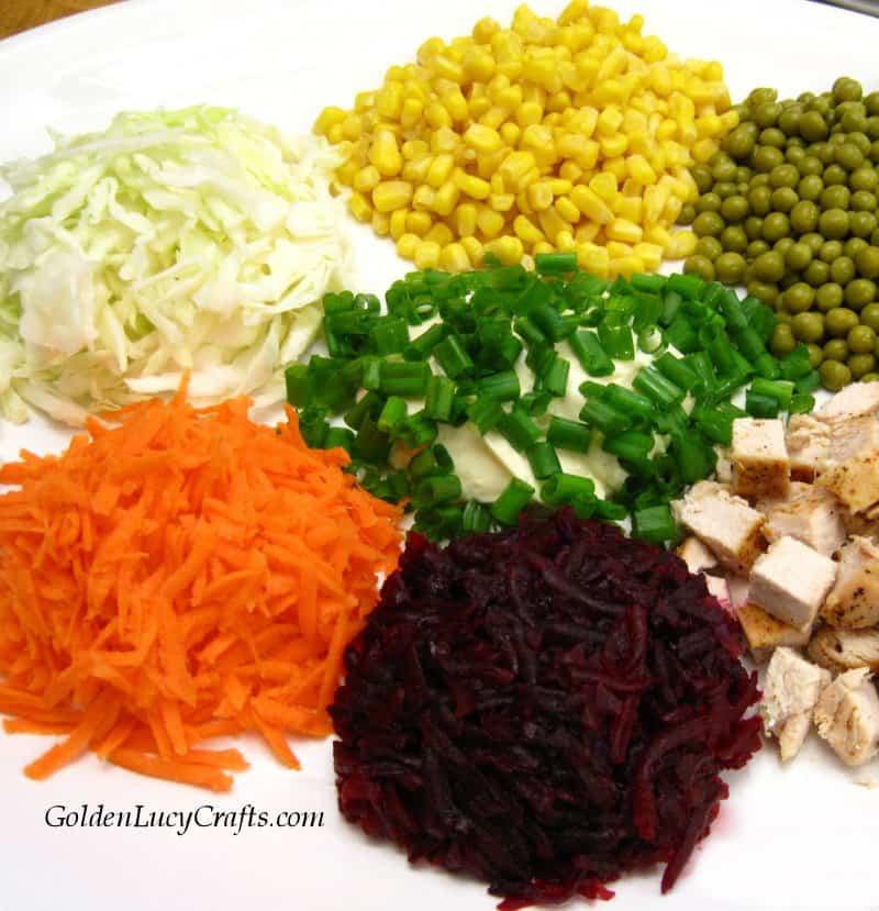 Ukrainian salad recipe, chicken vegetables salad, Goat in the Garden