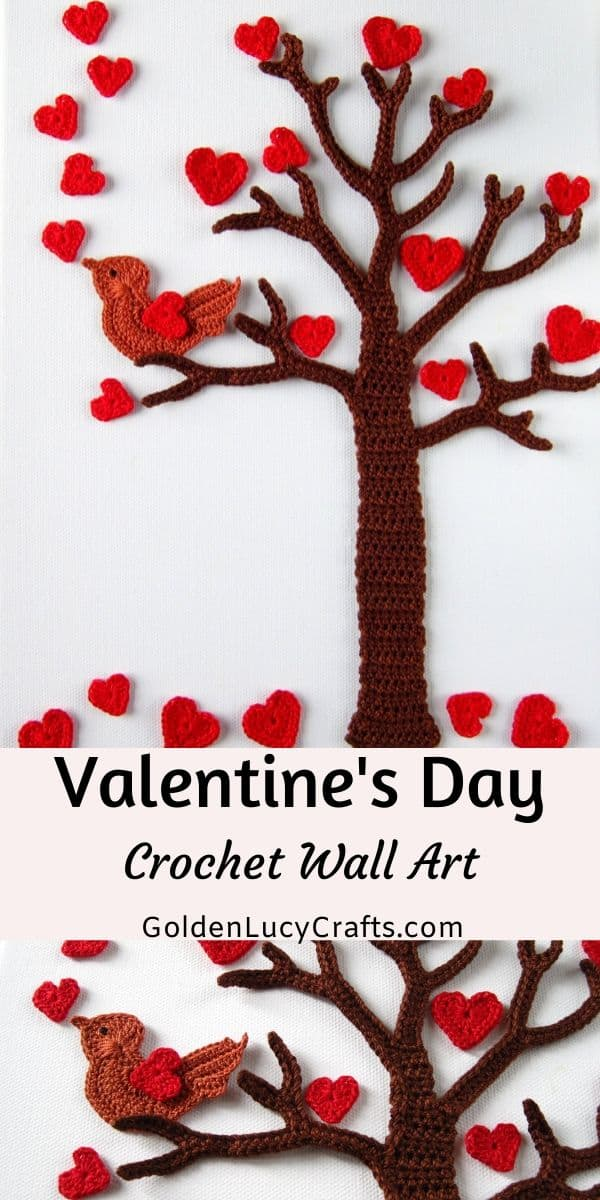 Valentine's Day tree crochet wall art