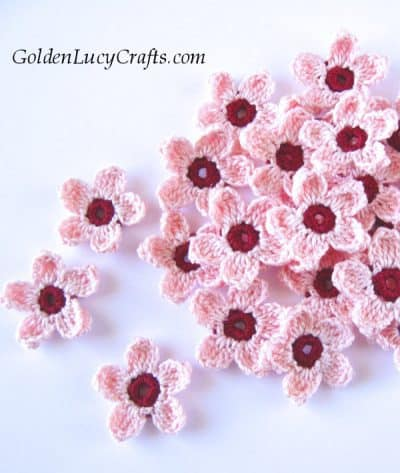 Crochet cherry blossom flowers