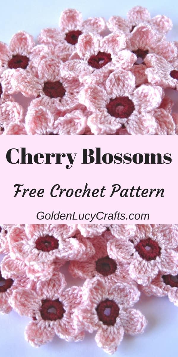Crocheted cherry blossom flowers.