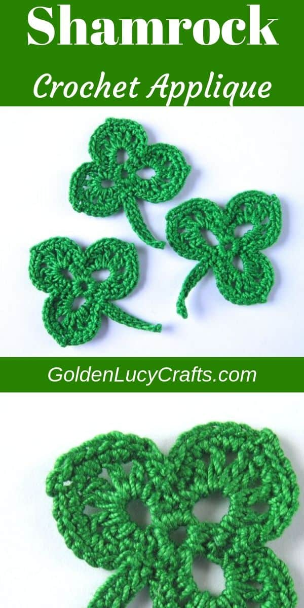 Crochet shamrock applique, St. Patrick's Day, free crochet pattern