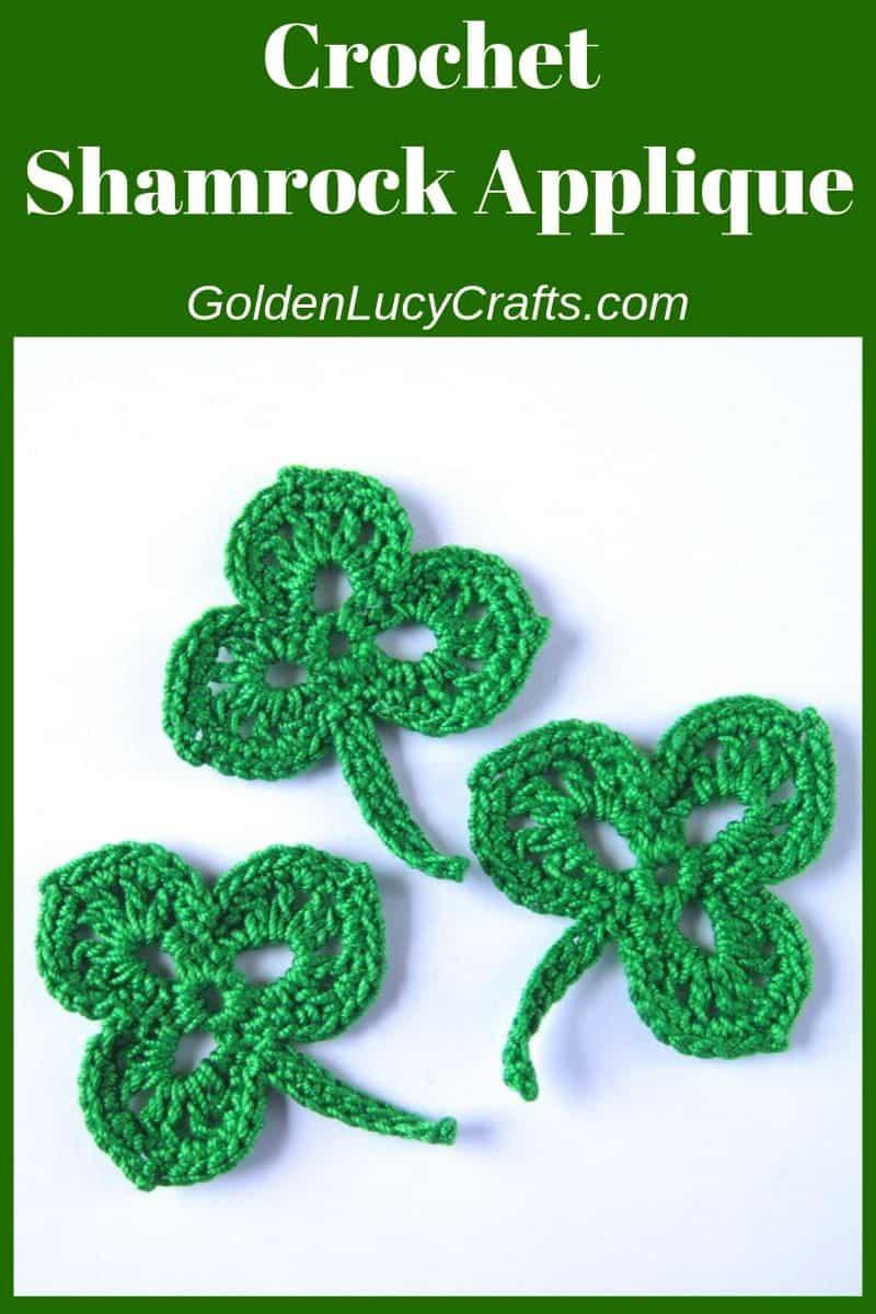 Crochet shamrock, free pattern