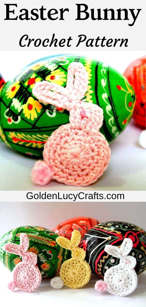 Easter bunny crochet pattern, bunny applique, free crochet pattern