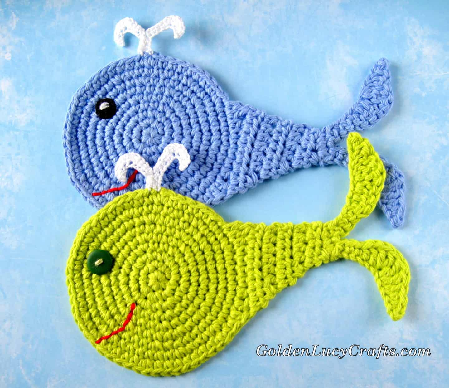 Whale crochet coasters in blue and green colors