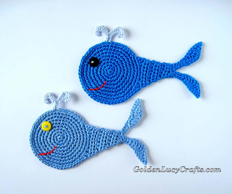 Whale crochet applique