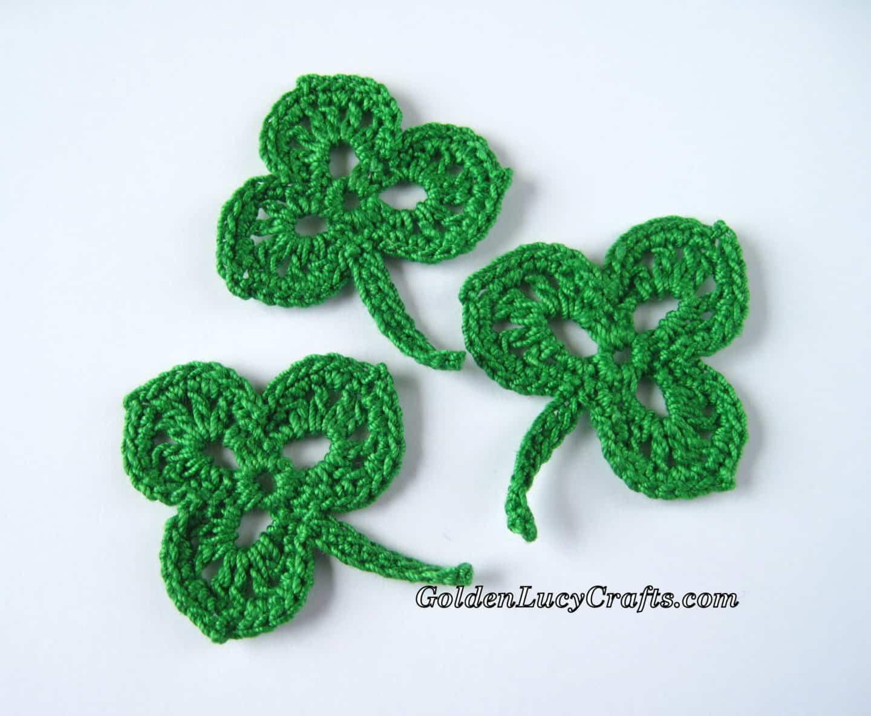 Crochet Shamrock, Applique, Free Pattern, St. Patrick\'s Day