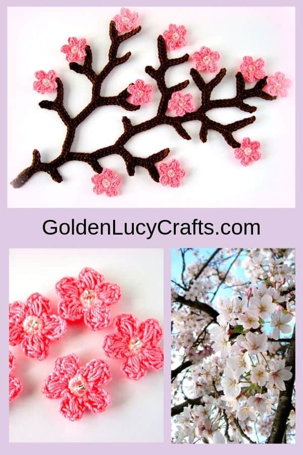 Crochet cherry branch, crochet cherry blossom, crochet spring tree, crochet spring flowers