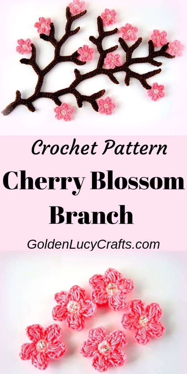 Crochet cherry branch, crochet cherry blossom, spring tree, crochet spring flowers