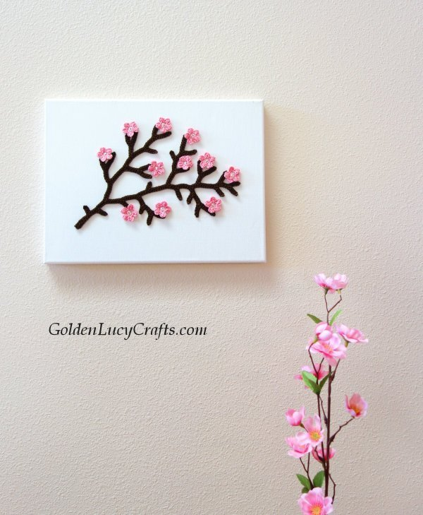 Crochet cherry branch wall art