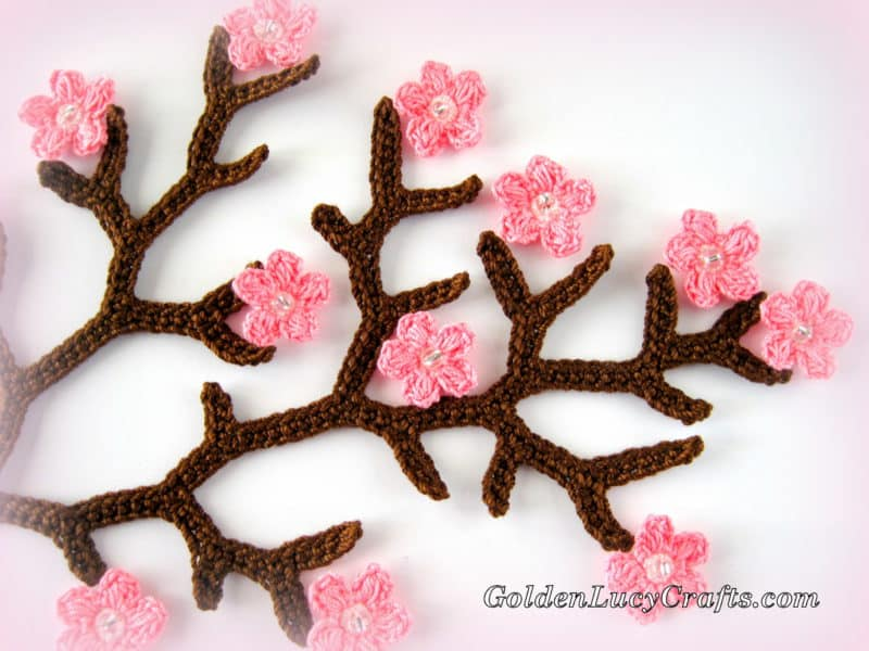 Crochet Cherry Blossom Branch Crochet Pattern Applique