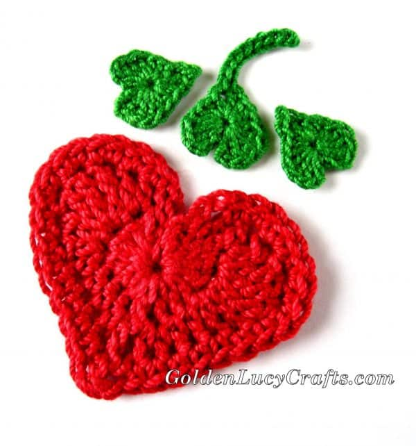 Crochet strawberry applique, free crochet pattern