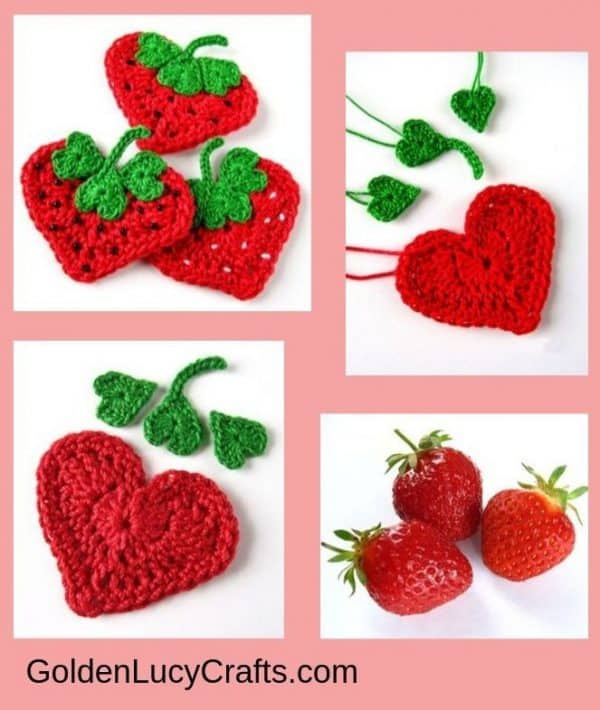 Crochet strawberry applique, free pattern, heart shaped strawberry