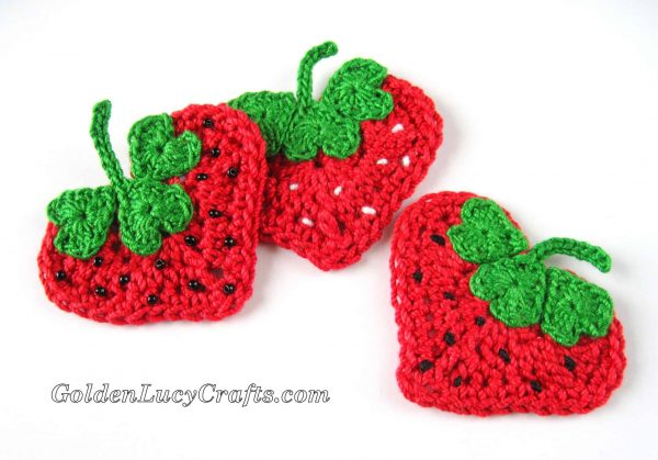 Crochet Heart Strawberry Applique