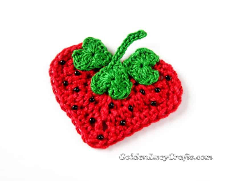 Crochet Strawberry Applique