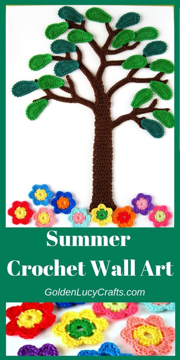 Crochet summer wall art, wall decor, wall hanging, home decor, canvas, crochet appliques