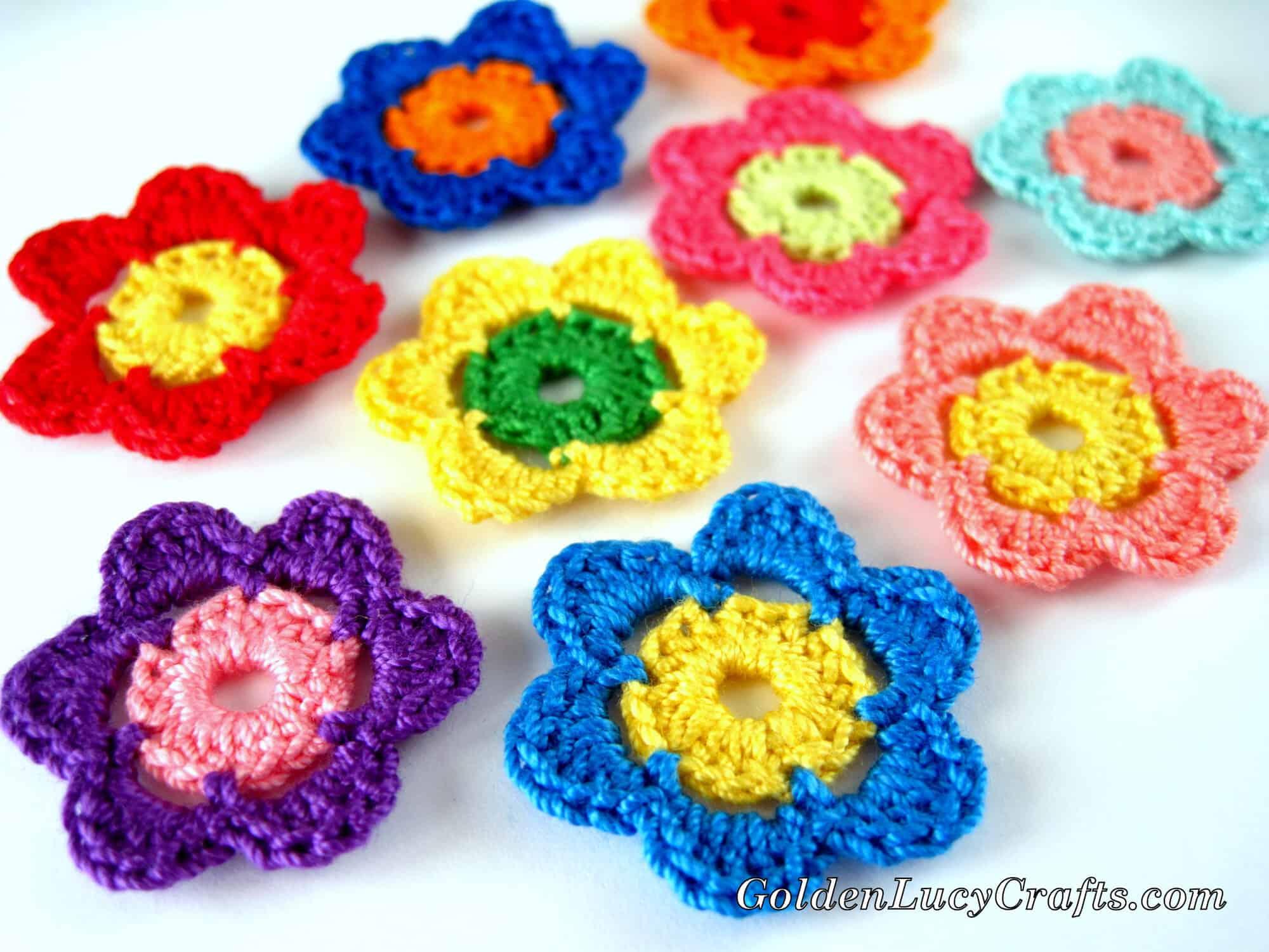 Easy Crochet Flowers Applique Free Crochet Pattern Goldenlucycrafts