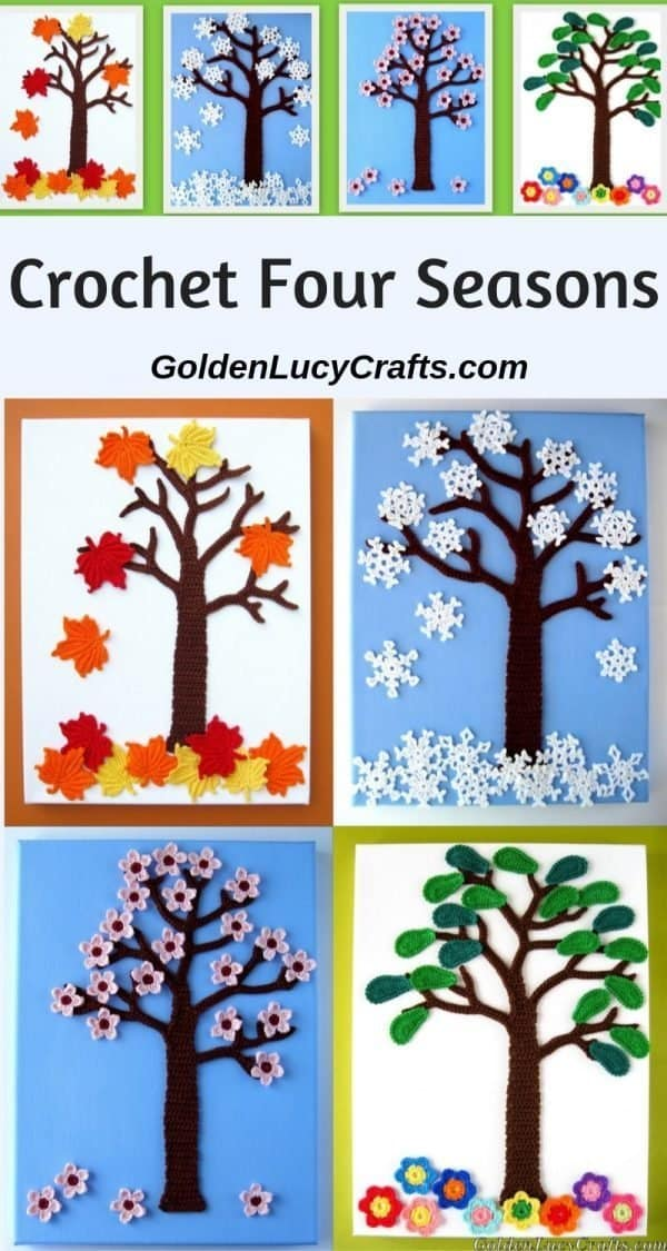 Crochet four seasons, applique, wall art, wall decor, crochet patterns