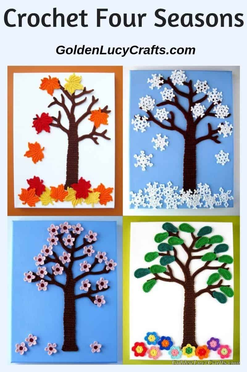 Crochet four seasons, appliques, wall art, wall decor idea