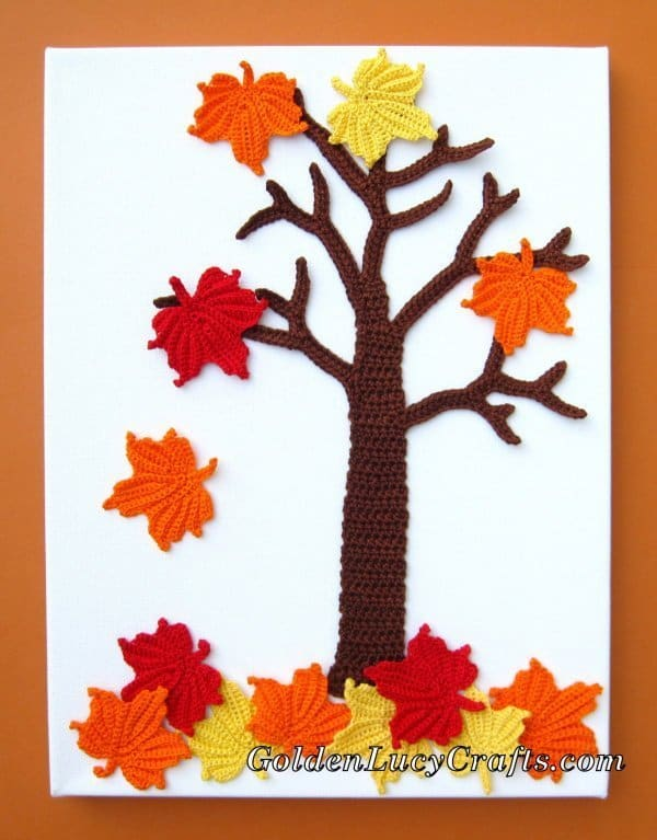 Crochet maple tree, four seasons applique, wall art