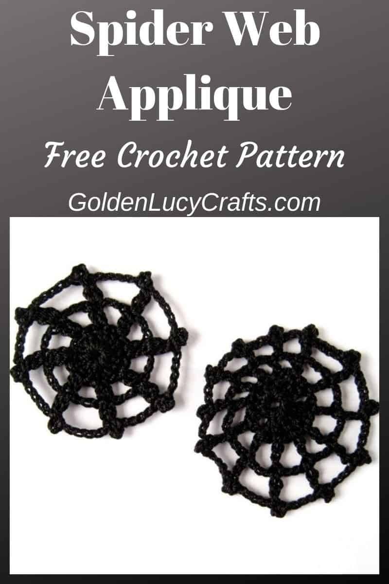 Crochet spider web applique, Halloween decor idea, DIY