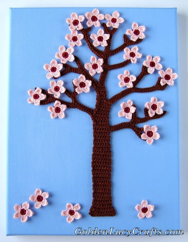 Crochet spring tree, four seasons applique, wall art
