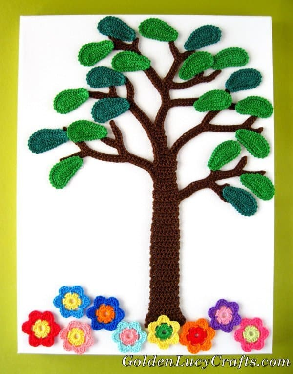 Crochet summer tree, four seasons applique, wall art
