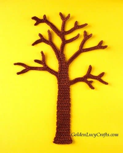 Crochet tree applique, four seasons applique, wall art