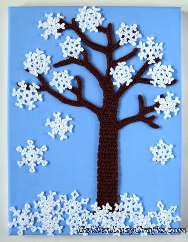 Crochet winter tree, four seasons applique, wall art