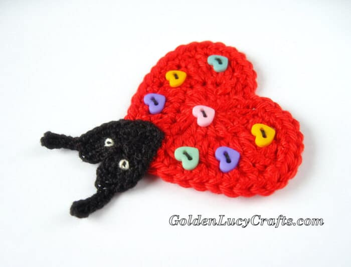 Crochet heart ladybug applique embellished with heart buttons
