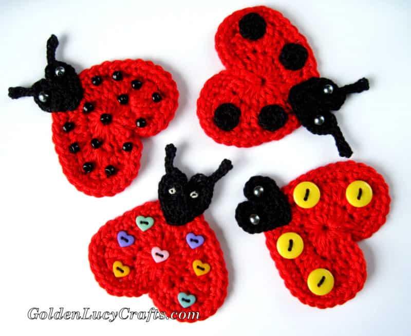 Crochet Ladybug Applique Free Crochet Pattern Goldenlucycrafts
