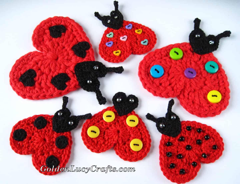 Crochet Heart Ladybug Appliqué
